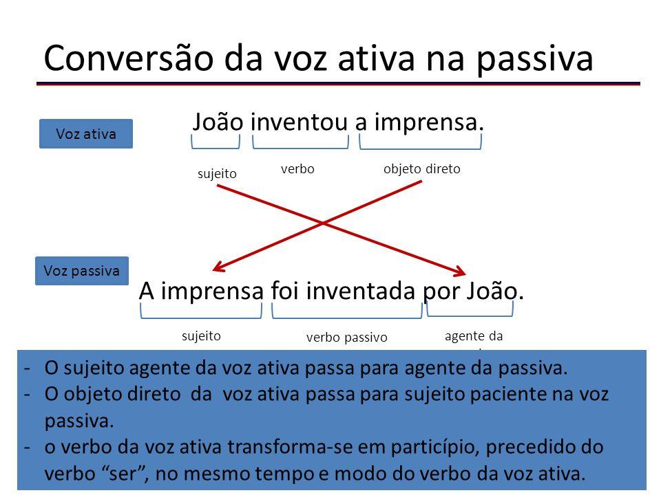 Conversão da voz ativa na passiva João inventou a imprensa.