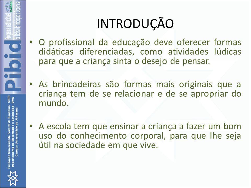 INTRODUÇÃO O profissional da educação deve oferecer formas didáticas diferenciadas, como atividades lúdicas para que a criança sinta o desejo de pensa