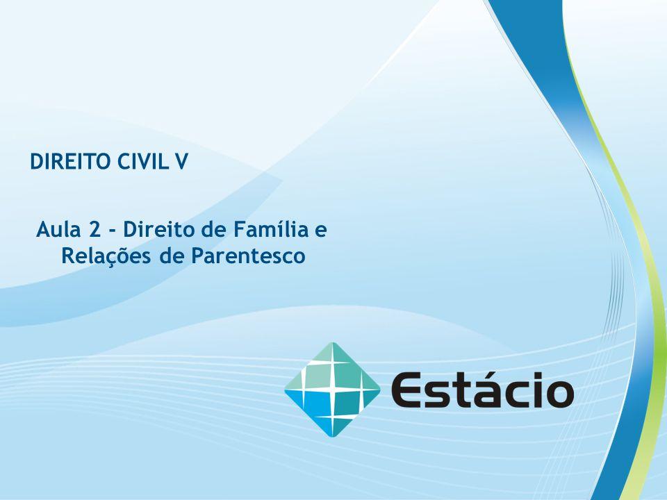 AULA 2 DIREITO CIVIL V AULA 2 DIREITO CIVIL V CONTEÚDO PROGRAMÁTICO DESTA AULA Retomar a importância social e jurídica do conceito de família e de Direito de Família.