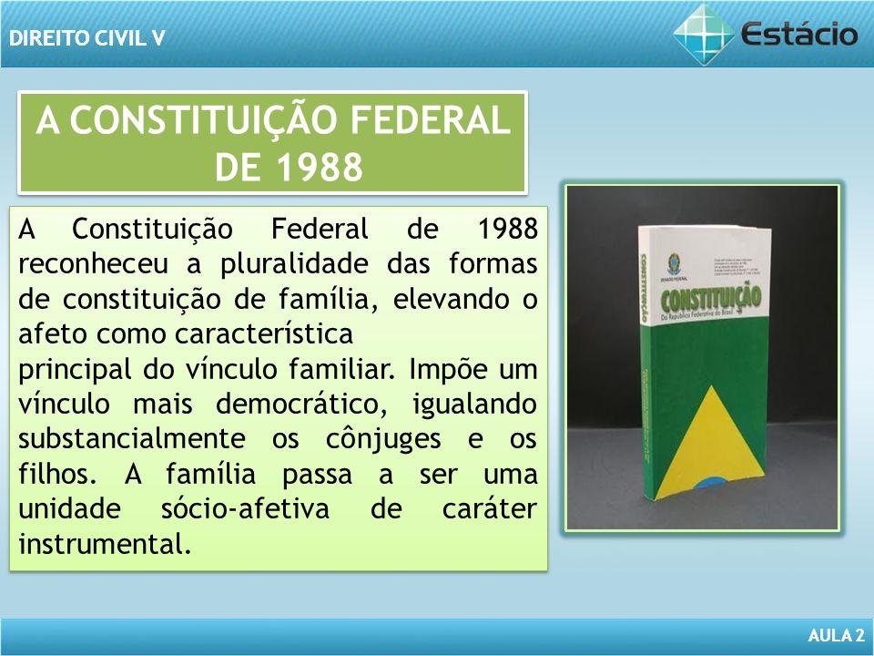 AULA 2 DIREITO CIVIL V AULA 2 DIREITO CIVIL V A CONSTITUIÇÃO FEDERAL DE 1988 A Constituição Federal de 1988 reconheceu a pluralidade das formas de con