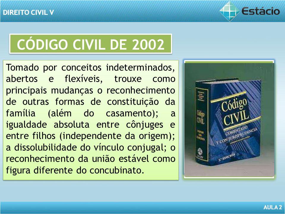 AULA 2 DIREITO CIVIL V AULA 2 DIREITO CIVIL V CÓDIGO CIVIL DE 2002 Tomado por conceitos indeterminados, abertos e flexíveis, trouxe como principais mu