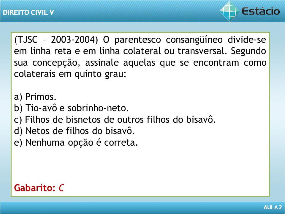 AULA 2 DIREITO CIVIL V AULA 2 DIREITO CIVIL V (TJSC – 2003-2004) O parentesco consangüíneo divide-se em linha reta e em linha colateral ou transversal