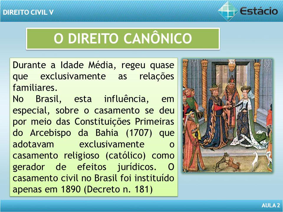 AULA 2 DIREITO CIVIL V AULA 2 DIREITO CIVIL V O DIREITO CANÔNICO Durante a Idade Média, regeu quase que exclusivamente as relações familiares. No Bras