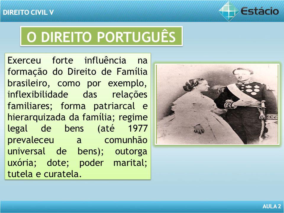 AULA 2 DIREITO CIVIL V AULA 2 DIREITO CIVIL V O CÓDIGO CIVIL DE 1916 Sob a influência do Direito Português e tomado por elementos definitórios plenos, manteve a forma patriarcal e hierarquizada de família; a desigualdade entre cônjuges; o caráter matrimonializado e institucional da família; a desigualdade entre os filhos e a indissolubilidade do vínculo conjugal.