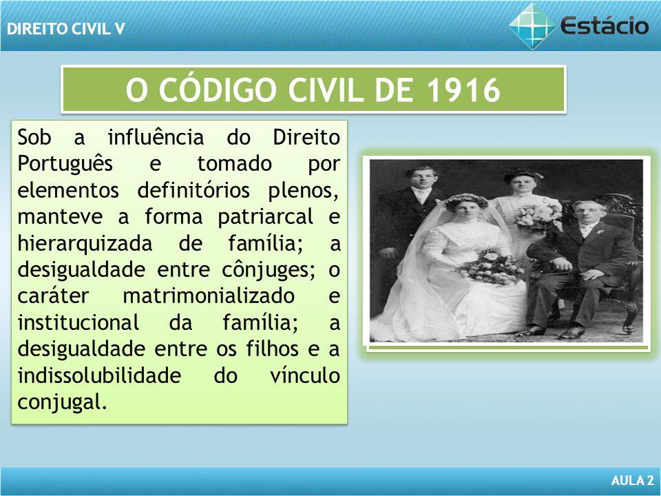 AULA 2 DIREITO CIVIL V AULA 2 DIREITO CIVIL V O CÓDIGO CIVIL DE 1916 Sob a influência do Direito Português e tomado por elementos definitórios plenos,