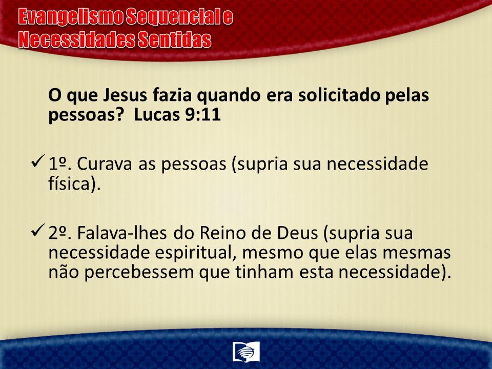 O que Jesus fazia quando era solicitado pelas pessoas? Lucas 9:11 1º. Curava as pessoas (supria sua necessidade física). 2º. Falava-lhes do Reino de D