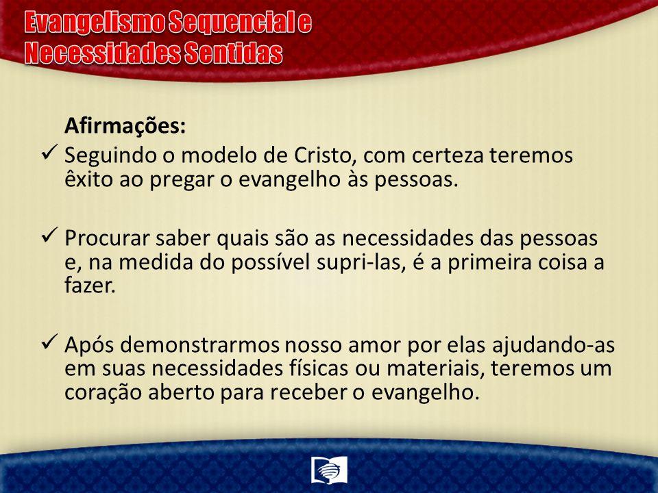 Afirmações: Seguindo o modelo de Cristo, com certeza teremos êxito ao pregar o evangelho às pessoas. Procurar saber quais são as necessidades das pess