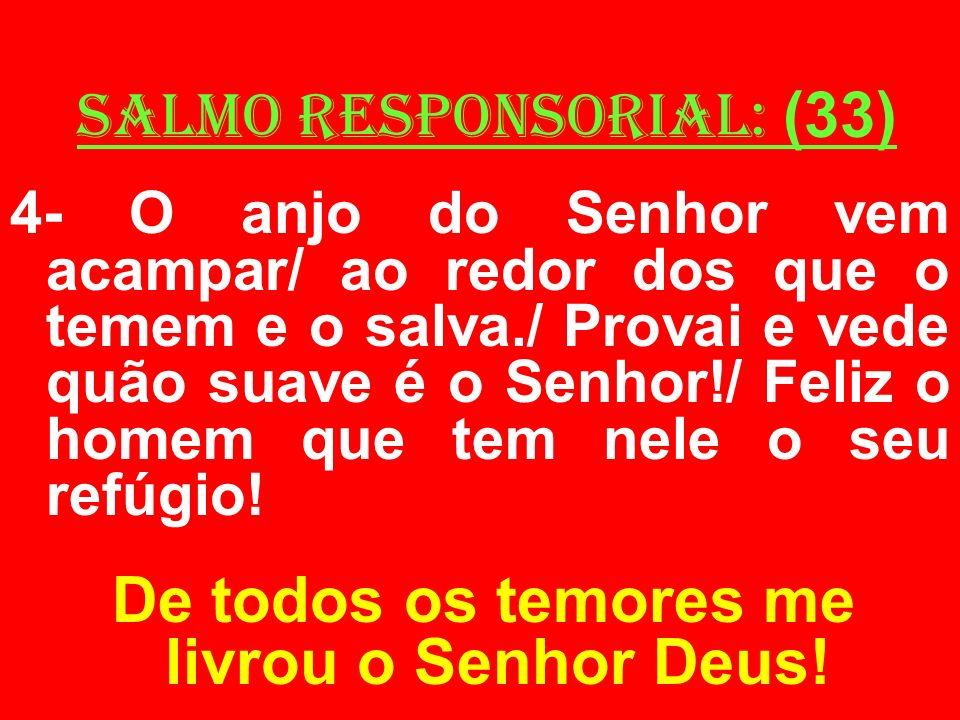 salmo responsorial: (33) 4- O anjo do Senhor vem acampar/ ao redor dos que o temem e o salva./ Provai e vede quão suave é o Senhor!/ Feliz o homem que