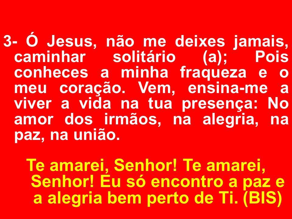 3- Ó Jesus, não me deixes jamais, caminhar solitário (a); Pois conheces a minha fraqueza e o meu coração. Vem, ensina-me a viver a vida na tua presenç