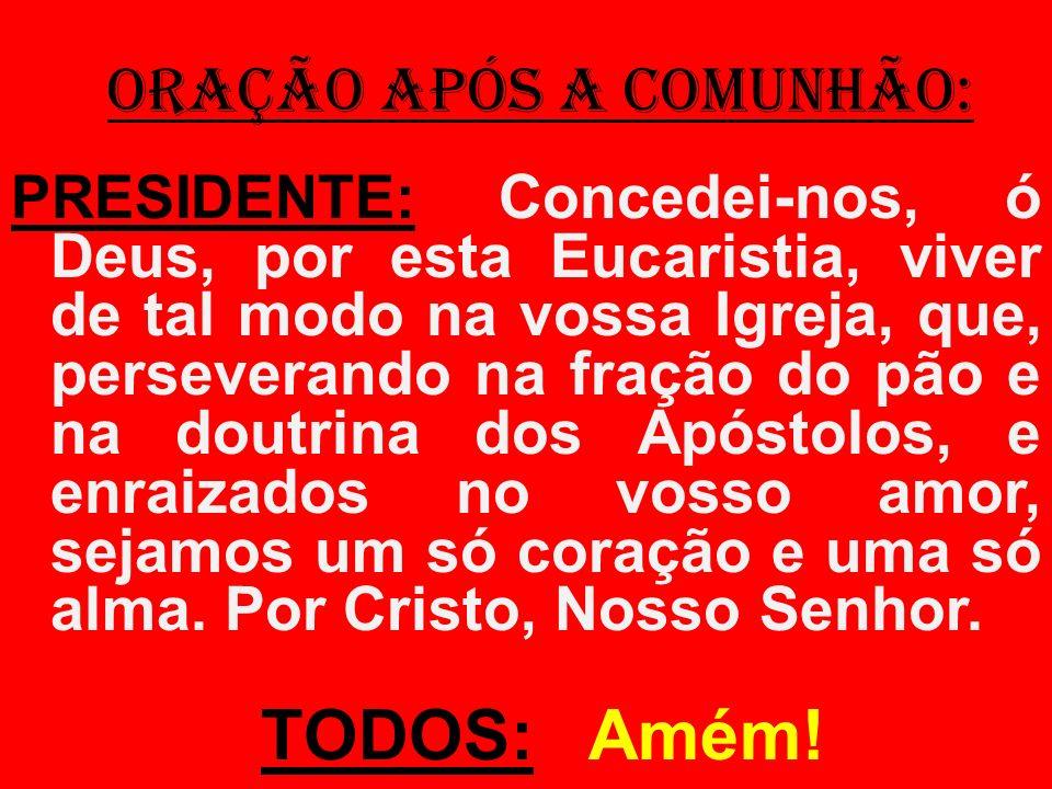 ORAÇÃO APÓS A COMUNHÃO: PRESIDENTE: Concedei-nos, ó Deus, por esta Eucaristia, viver de tal modo na vossa Igreja, que, perseverando na fração do pão e