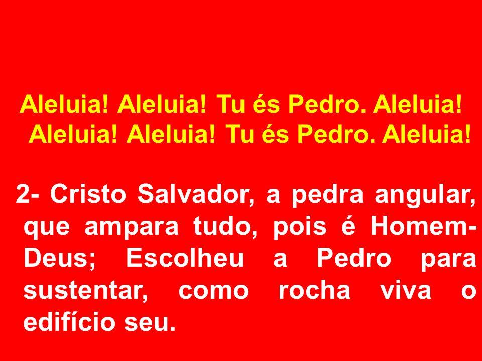 Aleluia! Aleluia! Tu és Pedro. Aleluia! 2- Cristo Salvador, a pedra angular, que ampara tudo, pois é Homem- Deus; Escolheu a Pedro para sustentar, com