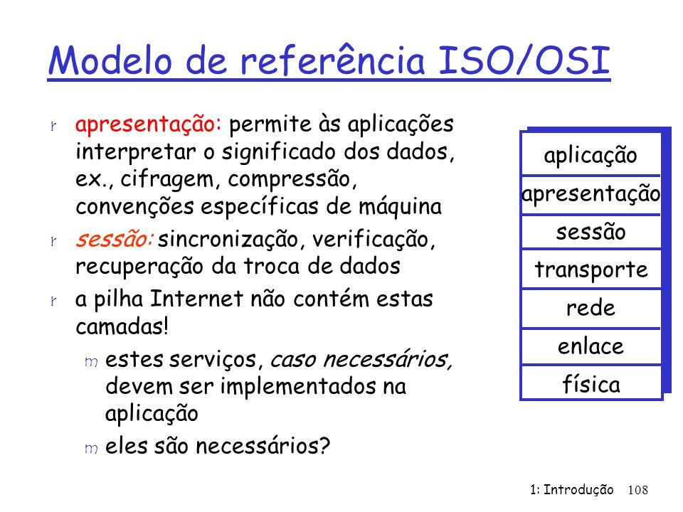 1: Introdução108 Modelo de referência ISO/OSI r apresentação: permite às aplicações interpretar o significado dos dados, ex., cifragem, compressão, convenções específicas de máquina r sessão: sincronização, verificação, recuperação da troca de dados r a pilha Internet não contém estas camadas.