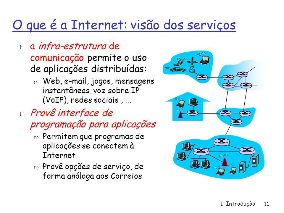 1: Introdução11 O que é a Internet: visão dos serviços r a infra-estrutura de comunicação permite o uso de aplicações distribuídas: m Web, e-mail, jogos, mensagens instantâneas, voz sobre IP (VoIP), redes sociais,...