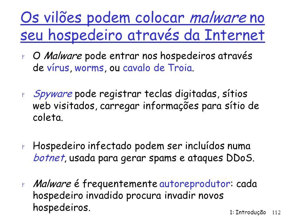 1: Introdução112 Os vilões podem colocar malware no seu hospedeiro através da Internet r O Malware pode entrar nos hospedeiros através de vírus, worms, ou cavalo de Troia.