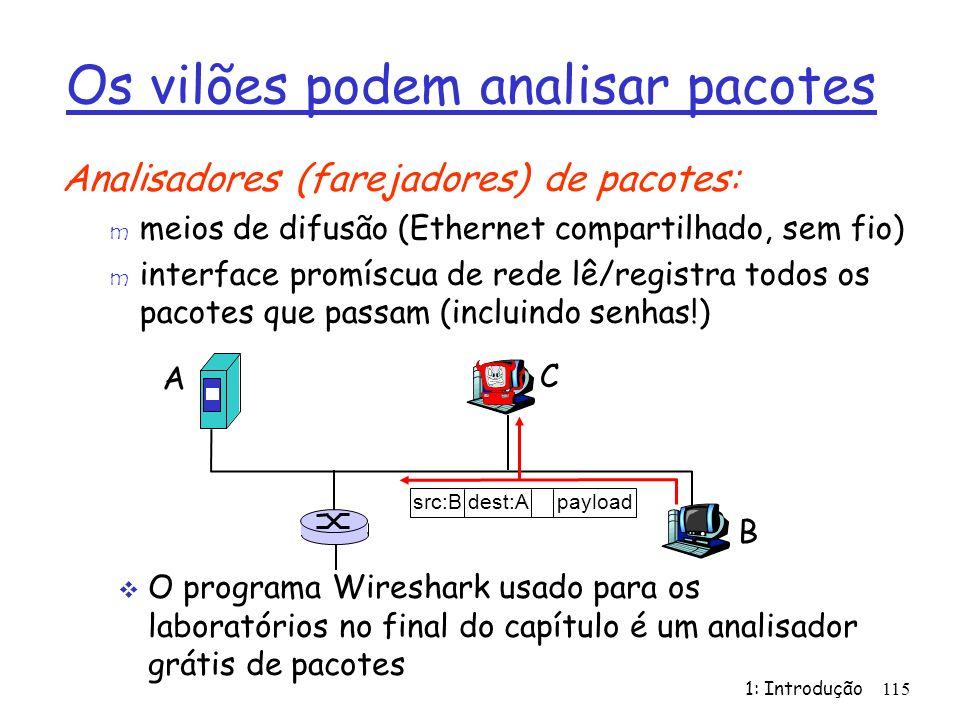 1: Introdução115 Os vilões podem analisar pacotes Analisadores (farejadores) de pacotes: m meios de difusão (Ethernet compartilhado, sem fio) m interface promíscua de rede lê/registra todos os pacotes que passam (incluindo senhas!) A B C src:B dest:A payload O programa Wireshark usado para os laboratórios no final do capítulo é um analisador grátis de pacotes