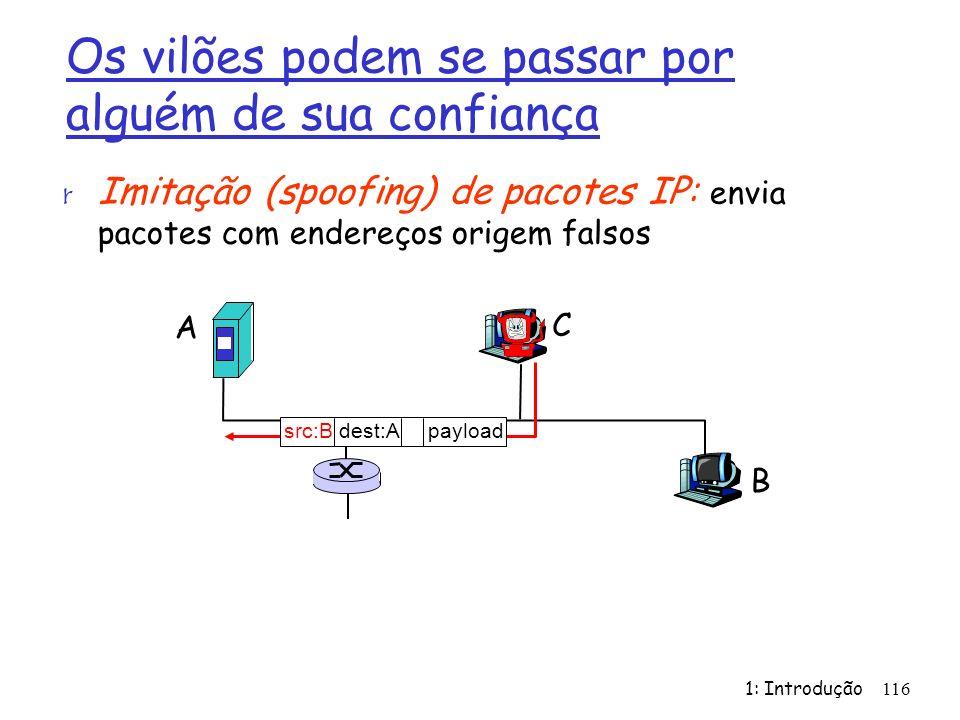 1: Introdução116 Os vilões podem se passar por alguém de sua confiança r Imitação (spoofing) de pacotes IP: envia pacotes com endereços origem falsos A B C src:B dest:A payload