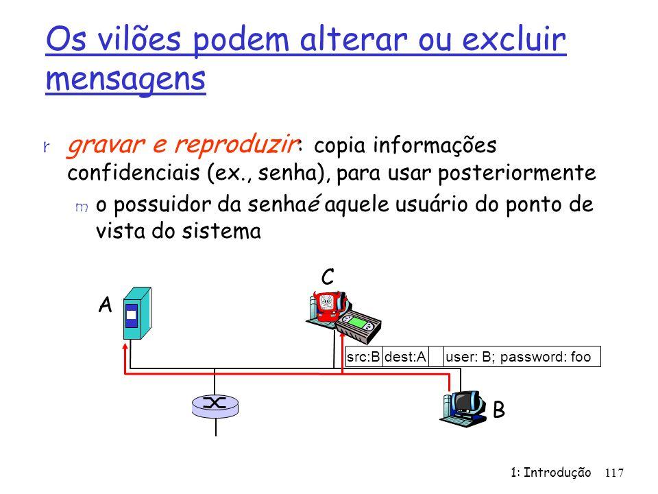 1: Introdução117 Os vilões podem alterar ou excluir mensagens r gravar e reproduzir : copia informações confidenciais (ex., senha), para usar posterio