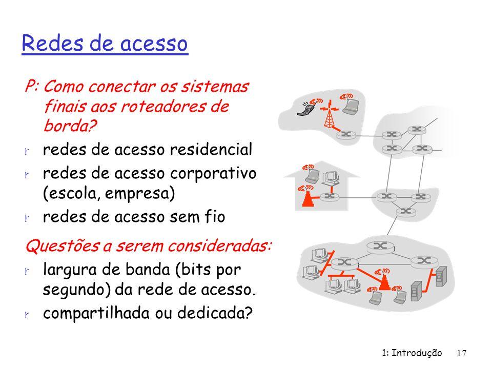 1: Introdução17 Redes de acesso P: Como conectar os sistemas finais aos roteadores de borda? r redes de acesso residencial r redes de acesso corporati