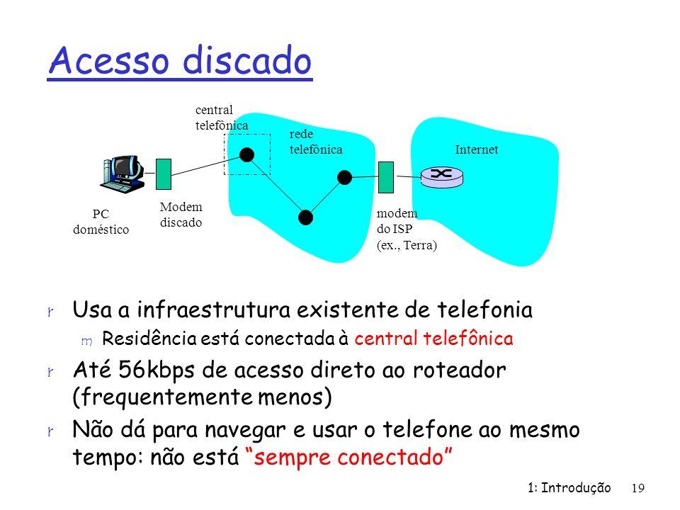 Acesso discado r Usa a infraestrutura existente de telefonia m Residência está conectada à central telefônica r Até 56kbps de acesso direto ao roteador (frequentemente menos) r Não dá para navegar e usar o telefone ao mesmo tempo: não está sempre conectado 1: Introdução19 rede telefônica Internet Modem discado modem do ISP (ex., Terra) PC doméstico central telefônica