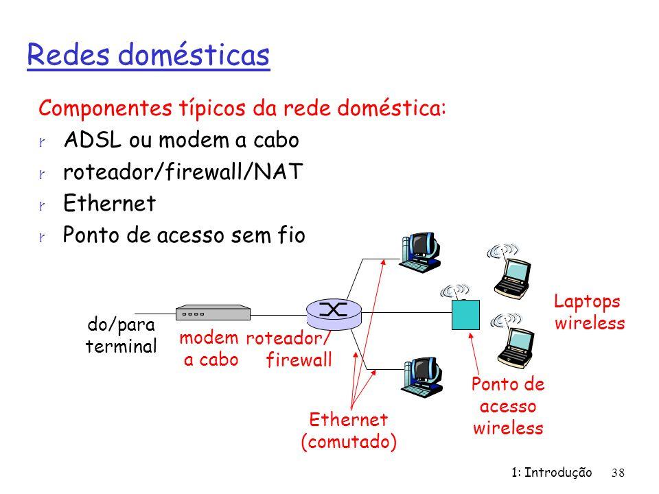 1: Introdução38 Redes domésticas Componentes típicos da rede doméstica: r ADSL ou modem a cabo r roteador/firewall/NAT r Ethernet r Ponto de acesso sem fio Ponto de acesso wireless Laptops wireless roteador/ firewall modem a cabo do/para terminal Ethernet (comutado)