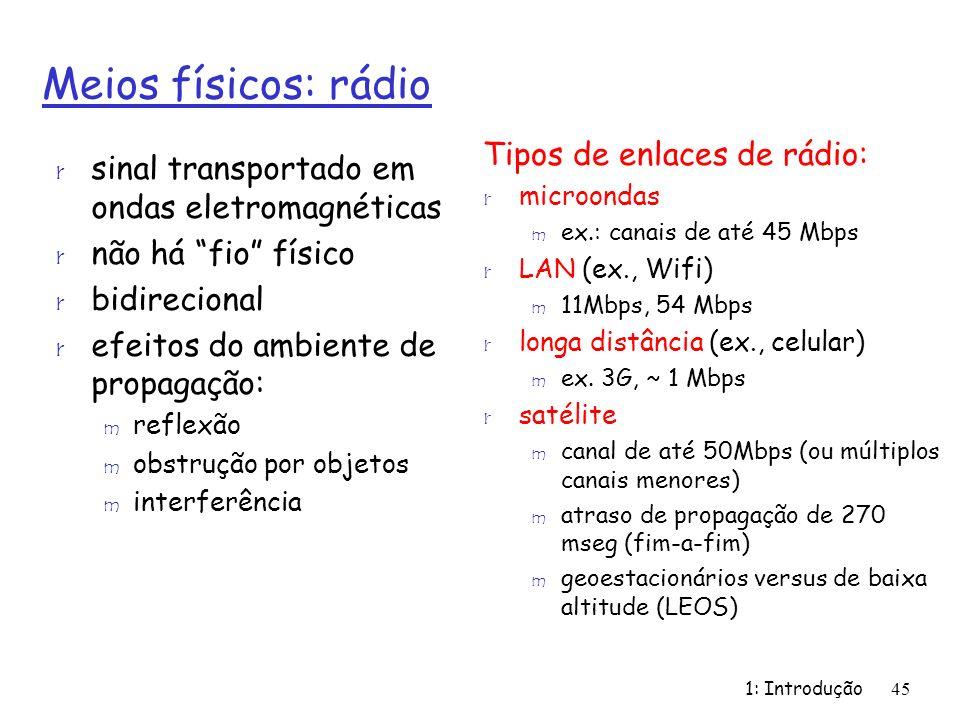 1: Introdução45 Meios físicos: rádio r sinal transportado em ondas eletromagnéticas r não há fio físico r bidirecional r efeitos do ambiente de propagação: m reflexão m obstrução por objetos m interferência Tipos de enlaces de rádio: r microondas m ex.: canais de até 45 Mbps r LAN (ex., Wifi) m 11Mbps, 54 Mbps r longa distância (ex., celular) m ex.
