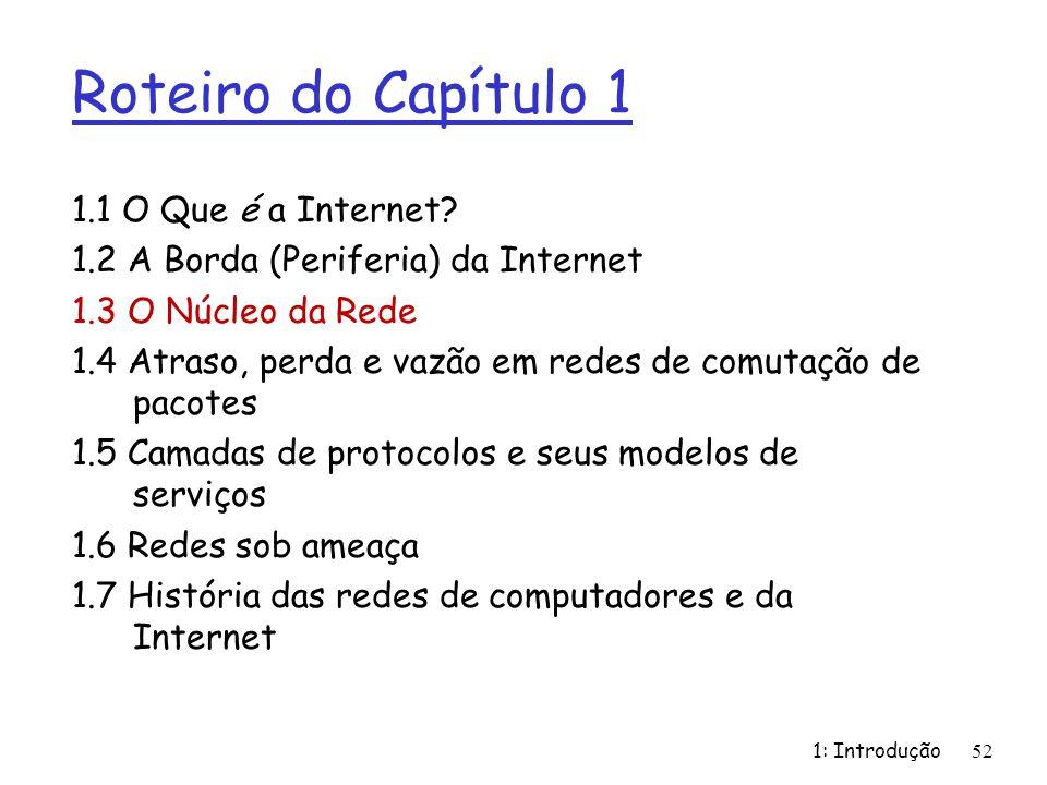 1: Introdução Roteiro do Capítulo 1 1.1 O Que é a Internet? 1.2 A Borda (Periferia) da Internet 1.3 O Núcleo da Rede 1.4 Atraso, perda e vazão em rede