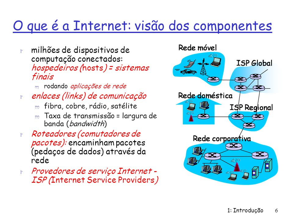 1: Introdução6 O que é a Internet: visão dos componentes r milhões de dispositivos de computação conectados: hospedeiros (hosts) = sistemas finais m rodando aplicações de rede r enlaces (links) de comunicação m fibra, cobre, rádio, satélite m Taxa de transmissão = largura de banda (bandwidth) r Roteadores (comutadores de pacotes): encaminham pacotes (pedaços de dados) através da rede r Provedores de serviço Internet - ISP (Internet Service Providers)