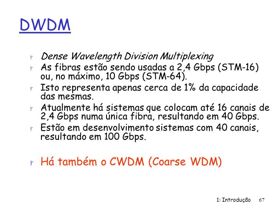 1: Introdução67 DWDM r Dense Wavelength Division Multiplexing r As fibras estão sendo usadas a 2,4 Gbps (STM-16) ou, no máximo, 10 Gbps (STM-64).