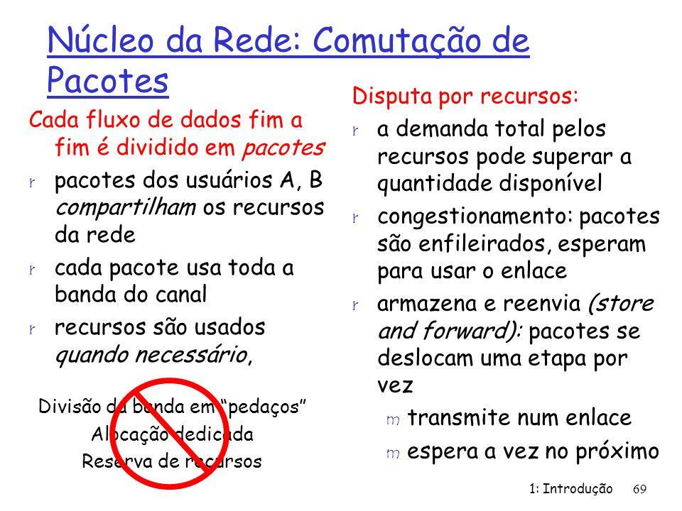 1: Introdução69 Núcleo da Rede: Comutação de Pacotes Cada fluxo de dados fim a fim é dividido em pacotes r pacotes dos usuários A, B compartilham os recursos da rede r cada pacote usa toda a banda do canal r recursos são usados quando necessário, Disputa por recursos: r a demanda total pelos recursos pode superar a quantidade disponível r congestionamento: pacotes são enfileirados, esperam para usar o enlace r armazena e reenvia (store and forward): pacotes se deslocam uma etapa por vez m transmite num enlace m espera a vez no próximo Divisão da banda em pedaços Alocação dedicada Reserva de recursos