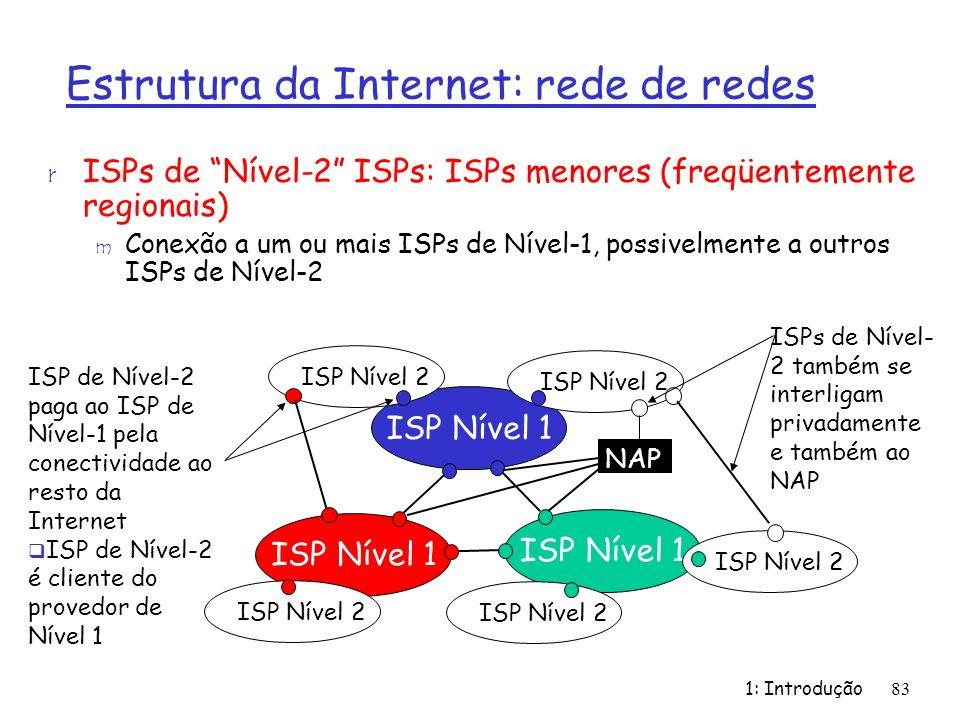 1: Introdução83 r ISPs de Nível-2 ISPs: ISPs menores (freqüentemente regionais) m Conexão a um ou mais ISPs de Nível-1, possivelmente a outros ISPs de Nível-2 ISP Nível 1 NAP ISP Nível 2 ISP de Nível-2 paga ao ISP de Nível-1 pela conectividade ao resto da Internet ISP de Nível-2 é cliente do provedor de Nível 1 ISPs de Nível- 2 também se interligam privadamente e também ao NAP Estrutura da Internet: rede de redes