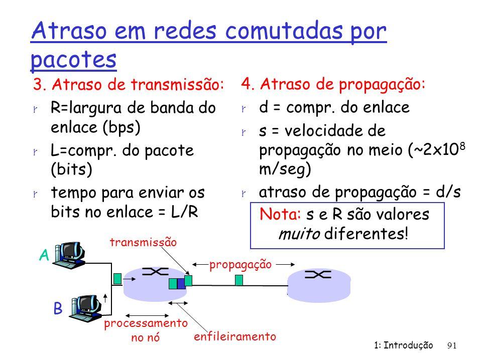 1: Introdução91 Atraso em redes comutadas por pacotes 3. Atraso de transmissão: r R=largura de banda do enlace (bps) r L=compr. do pacote (bits) r tem