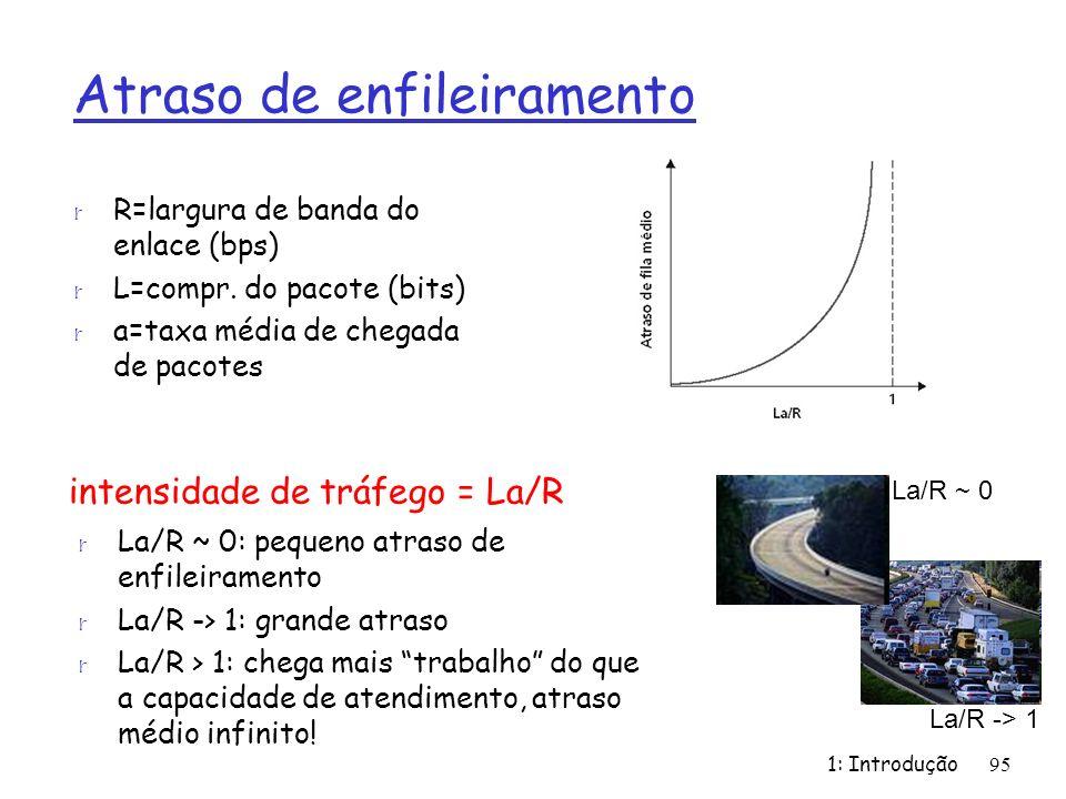 1: Introdução95 Atraso de enfileiramento r R=largura de banda do enlace (bps) r L=compr. do pacote (bits) r a=taxa média de chegada de pacotes intensi