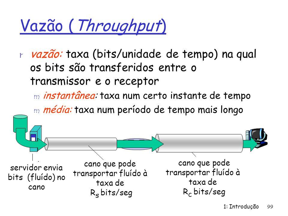 1: Introdução99 Vazão (Throughput) r vazão: taxa (bits/unidade de tempo) na qual os bits são transferidos entre o transmissor e o receptor m instantânea: taxa num certo instante de tempo m média: taxa num período de tempo mais longo servidor, com arquivo de F bits para enviar ao cliente capacidade do enlace R s bits/seg capacidade do enlace R c bits/seg cano que pode transportar fluído à taxa de R s bits/seg cano que pode transportar fluído à taxa de R c bits/seg servidor envia bits (fluído) no cano