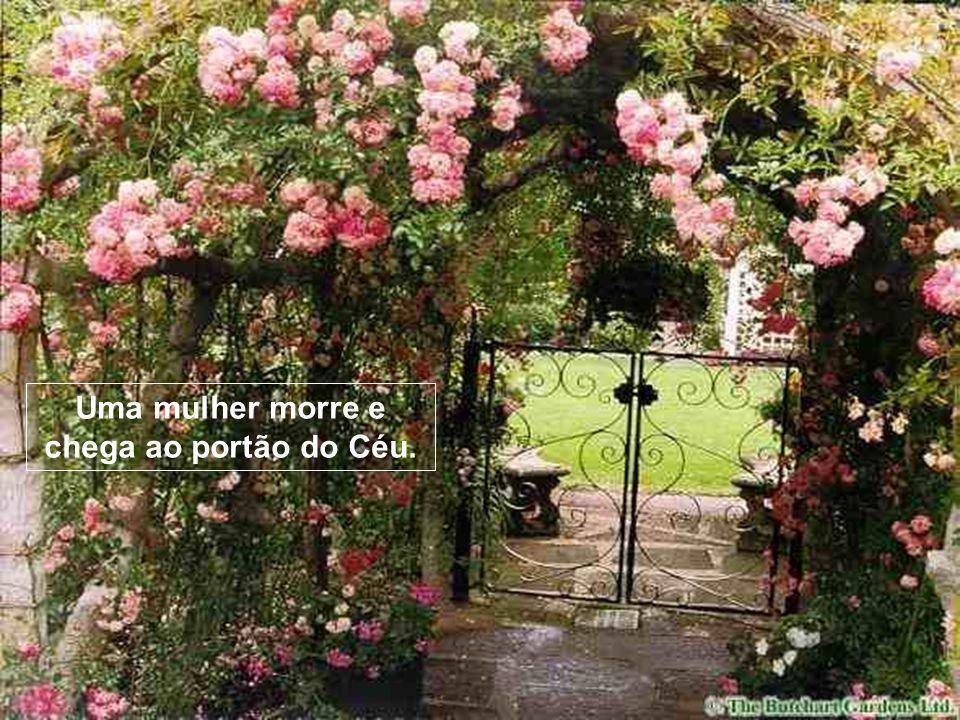 Uma mulher morre e chega ao portão do Céu.