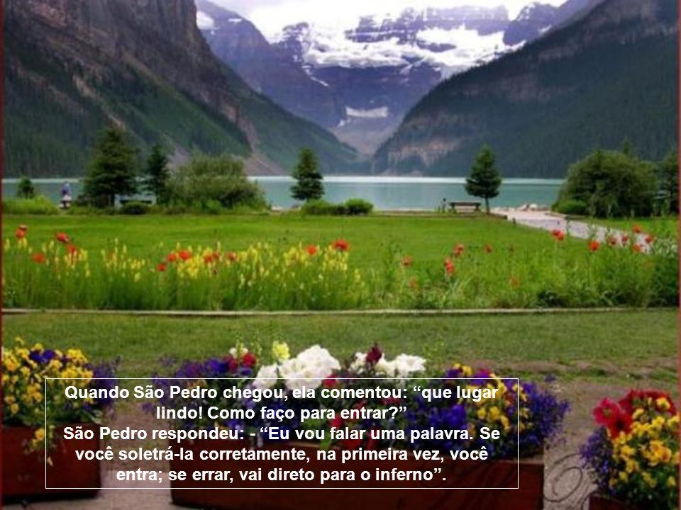 Quando São Pedro chegou, ela comentou: que lugar lindo.