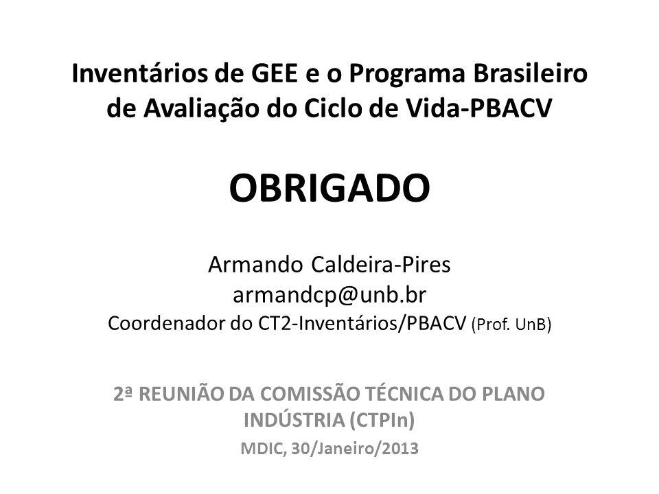 Inventários de GEE e o Programa Brasileiro de Avaliação do Ciclo de Vida-PBACV OBRIGADO Armando Caldeira-Pires armandcp@unb.br Coordenador do CT2-Inve