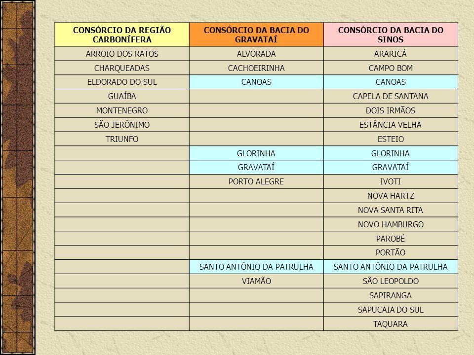 CONSÓRCIO DA REGIÃO CARBONÍFERA CONSÓRCIO DA BACIA DO GRAVATAÍ CONSÓRCIO DA BACIA DO SINOS ARROIO DOS RATOSALVORADAARARICÁ CHARQUEADASCACHOEIRINHACAMP