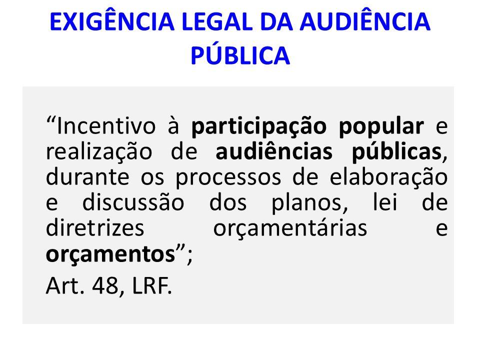 EXIGÊNCIA LEGAL DA AUDIÊNCIA PÚBLICA Incentivo à participação popular e realização de audiências públicas, durante os processos de elaboração e discus