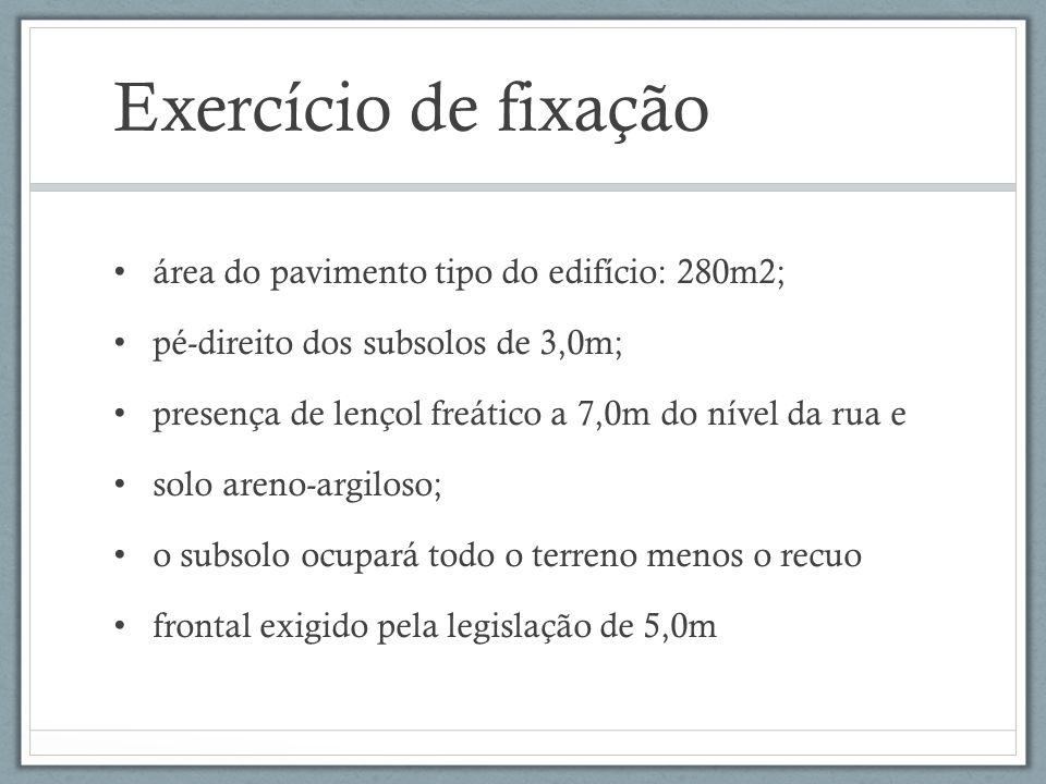 Exercício de fixação área do pavimento tipo do edifício: 280m2; pé-direito dos subsolos de 3,0m; presença de lençol freático a 7,0m do nível da rua e