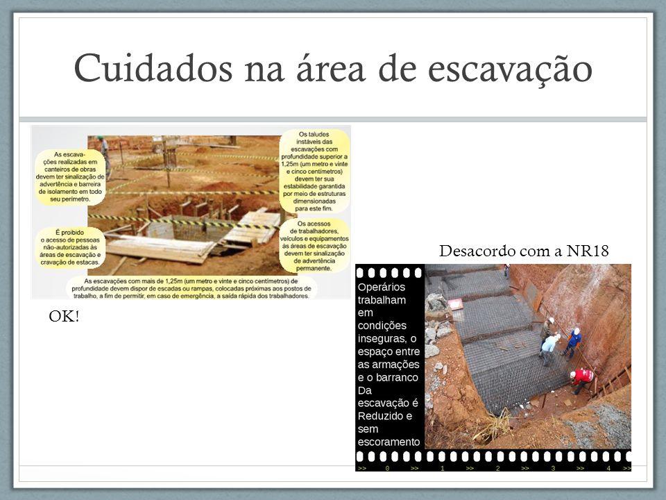 Cuidados na área de escavação OK! Desacordo com a NR18