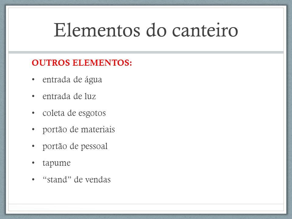 Elementos do canteiro OUTROS ELEMENTOS: entrada de água entrada de luz coleta de esgotos portão de materiais portão de pessoal tapume stand de vendas