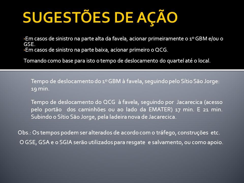 Em casos de sinistro na parte alta da favela, acionar primeiramente o 1º GBM e/ou o GSE. Em casos de sinistro na parte baixa, acionar primeiro o QCG.