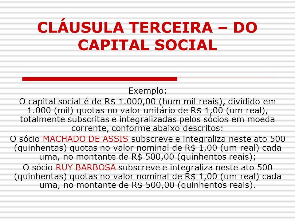 CLÁUSULA TERCEIRA – DO CAPITAL SOCIAL Exemplo: O capital social é de R$ 1.000,00 (hum mil reais), dividido em 1.000 (mil) quotas no valor unitário de