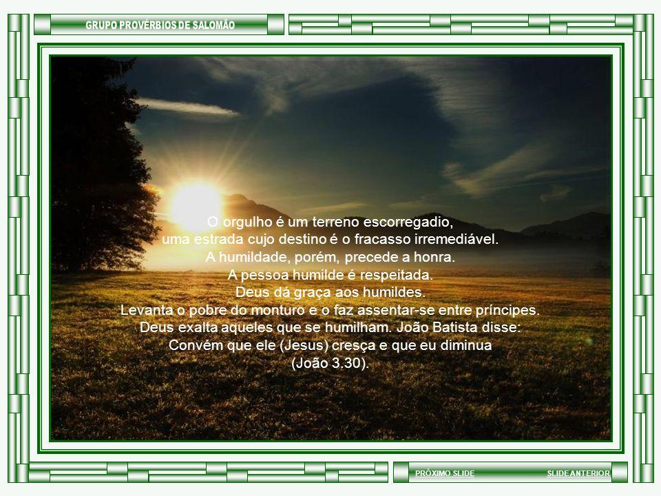 SLIDE ANTERIORPRÓXIMO SLIDE Deus lançou do céu o querubim de luz porque o orgulho entrou em seu coração quando quis ser semelhante ao Altíssimo. Deus