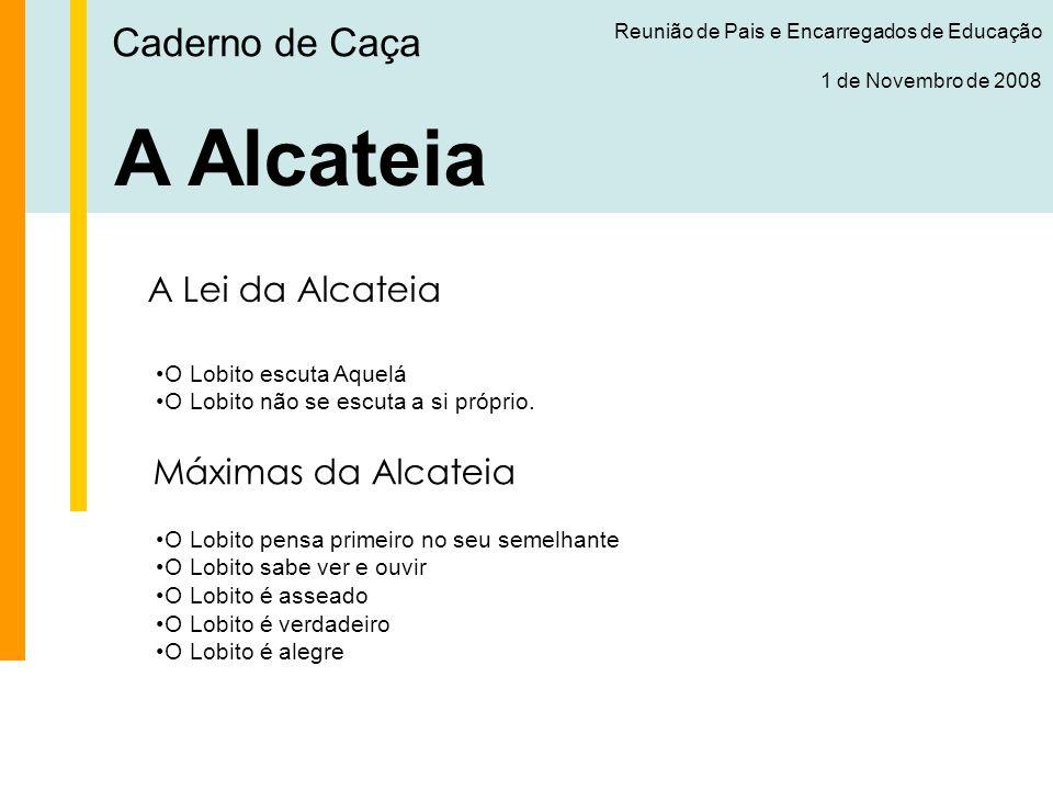 Caderno de Caça Reunião de Pais e Encarregados de Educação 1 de Novembro de 2008 A Alcateia A Fé S.