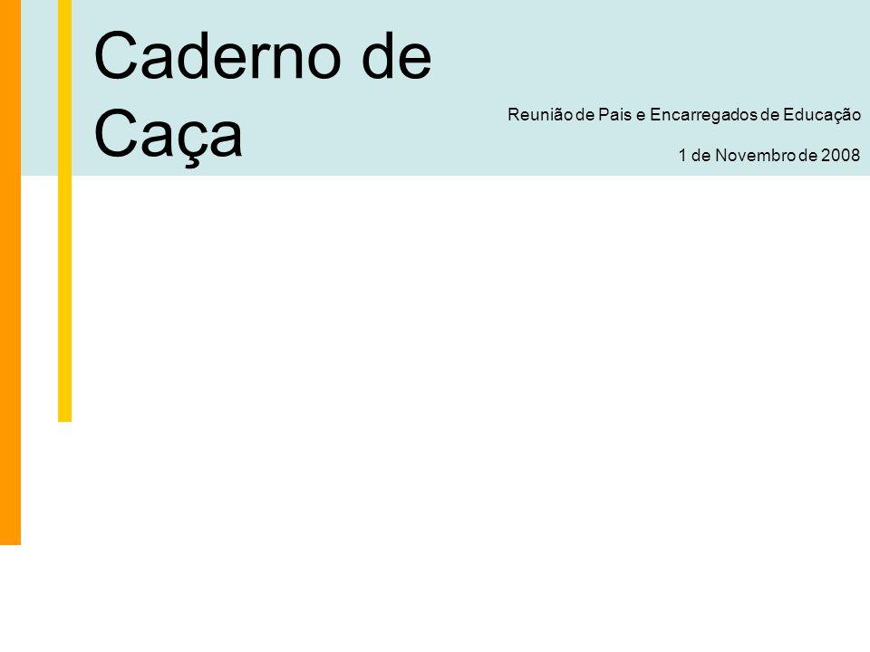Caderno de Caça Reunião de Pais e Encarregados de Educação 1 de Novembro de 2008 O Agrupamento Organização do Agrupamento Secções Alcateia (6 aos 10 anos) – Chefia : João Martins Grupo Explorador (10 aos 14 anos) – Chefia : Sara Leitão Grupo Pioneiro (14 aos 18 anos) – Chefia : Marco Silveira Clã (18 aos 23 anos) – Chefia : Luis Cardoso