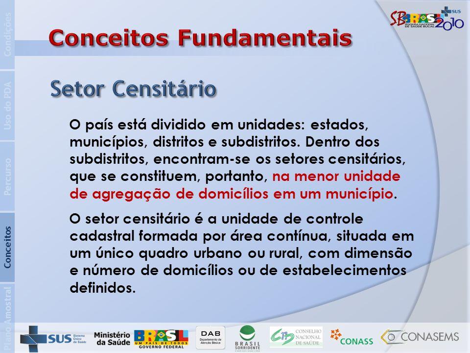 Brasil Estado de Roraima (14) Município de Boa Vista (00100) Distrito 05 Subdistrito 00 Setor 0070 Plano Amostral Conceitos Percurso Uso do PDA Condições