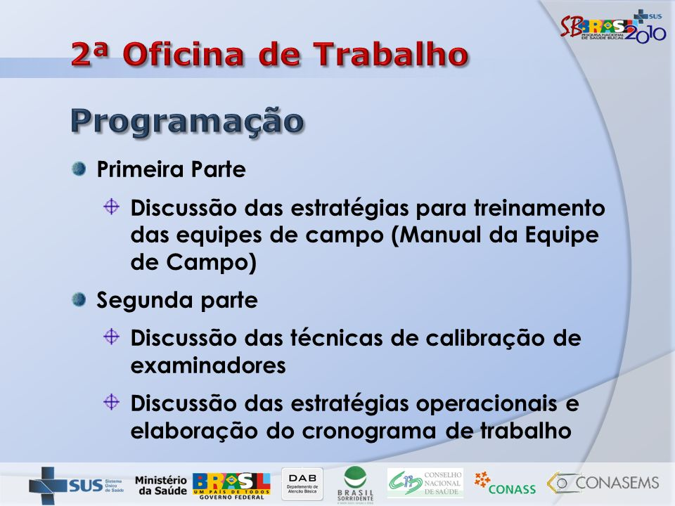 Coordenadores municipais do SBBrasil dos municípios sorteados para o estado Coordenador estadual do SBBrasil Instrutores de calibração