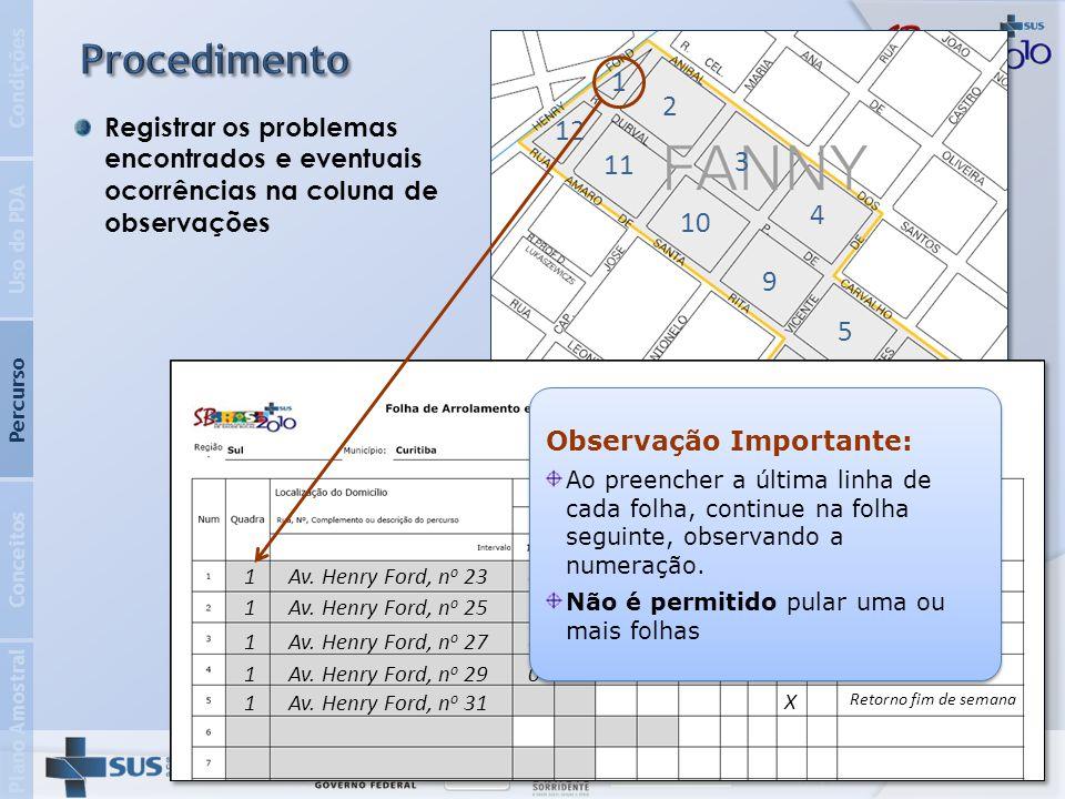 Plano Amostral Conceitos Percurso Uso do PDA Condições Para os domicílios vagos em que, sabidamente, não existem moradores, a equipe não deve retornar para checagem.