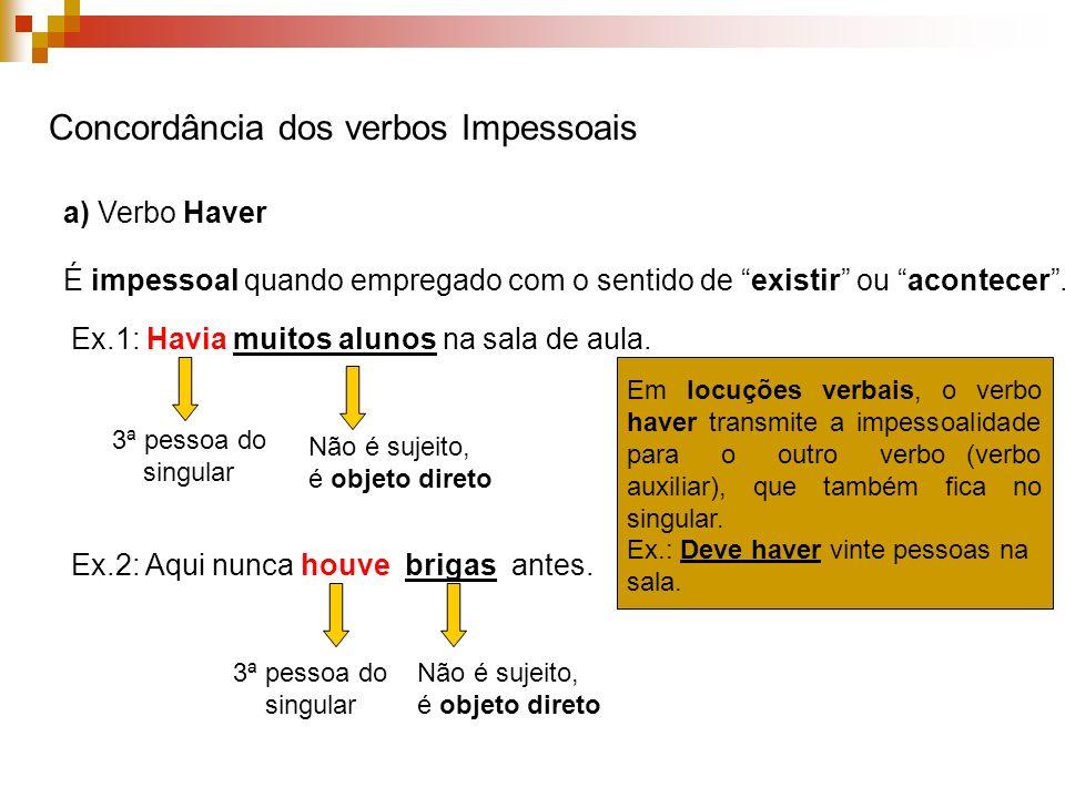 Concordância dos verbos Impessoais a) Verbo Haver É impessoal quando empregado com o sentido de existir ou acontecer.